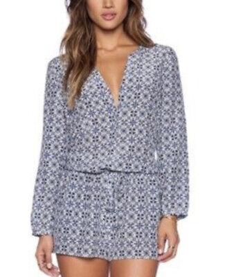 Joie Rialto Short Romper Jumpsuit Blue Silk Pockets Navy White Size M ? Read