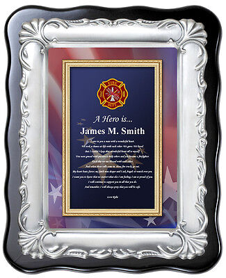 Personalized Fire Fighter Gift Plaque Fireman Birthday Love Firefighter -