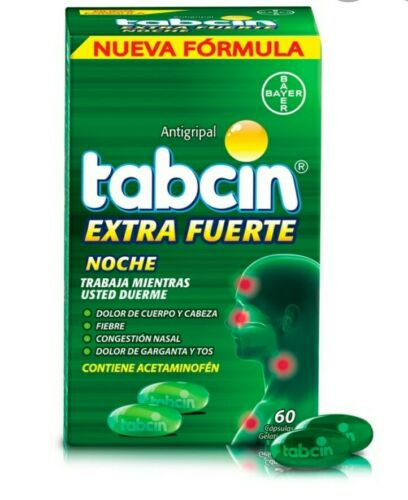 Tabcin extra fuerte Noche/night 60 cap xtra strong  cough,  cold