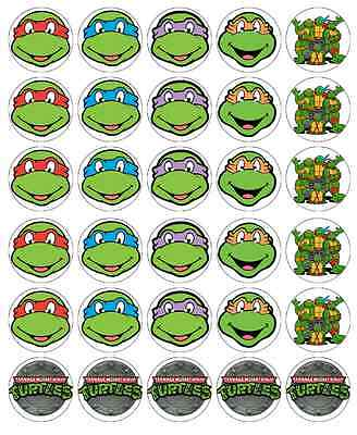 inja Turtle Cupcake Toppers Edible Wafer Fairy Cake Toppers (Teenage Mutant Ninja Turtle Cake Topper)