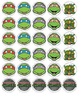 30 x Teenage Mutant Ninja Turtle Cupcake Toppers Edible Wafer Fairy Cake Toppers (Edible Ninja Turtle Cupcake Toppers)