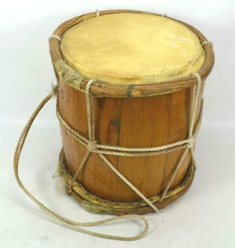 """Vintage Double Sided Wood Leather Hide African Folk Bass Drum 12"""" x 12"""" Handmade"""