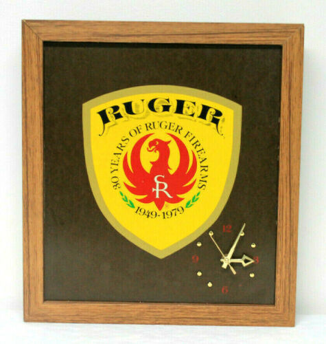 Vintage Ruger Firearms 30th Anniversary 1949-1979 Wood Clock 15 x 17