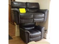 SATURN DARK BROWN - 2 Seater + Large Armchair ELECTRIC RECLINING SOFA SUITE + FREE LOCAL DELIVERY