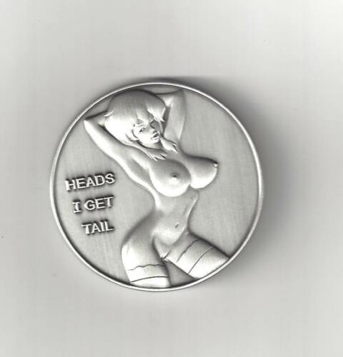 LARGE BUSTY ANIME GIRL HEADS TAILS SILVER COIN TOKEN MEDAL MEDALLION NAKED NUDE