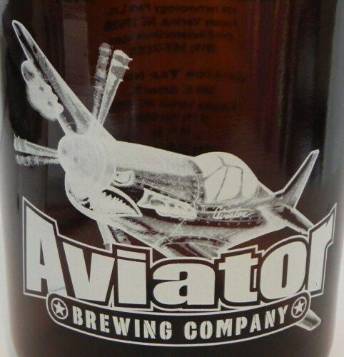 "Aviator Brewing Co. Brown Color Glass Jug w/Handle 64 fl oz. ""Beer Is My Friend"""