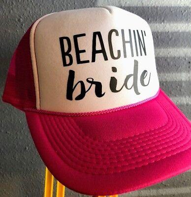 Beachin' Bride Trucker Hat Fashion Pink Cap Snapback Bachelor Honeymoon Wedding