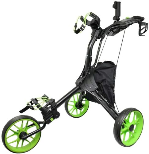 Hoveroid N8 Lime Foldable Golf Push & Pull Cart Aluminum Structure Light Weight