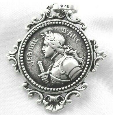 Jeanne d'Arc Medal French Style Antique 925 Sterling Silver NEW High Quality !