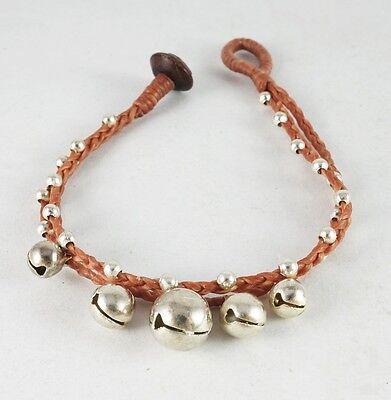 Cool String Bracelets (COOL BRACELET LIGHT BROWN WAX STRING BEADS JINGLE BELL HANDCRAFT HIPPIE)