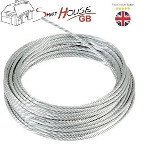 4mm Galvanised Wire Rope Steel Cable Rigging Price Per Meter FREE DELIVERY