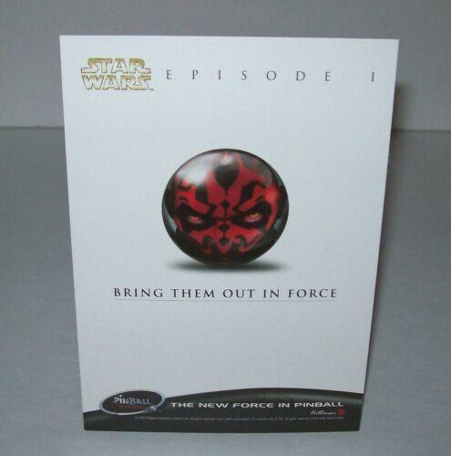 Star Wars Episode I Pinball POSTCARD Original Williams Darth Maul Promo 1999