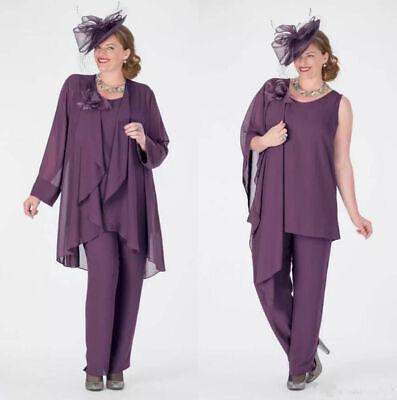 Plus size 3 Pieces Lavender Mother Of The Bride Dresses Pants Suits Free Jackets (Mother Of The Bride Suits)