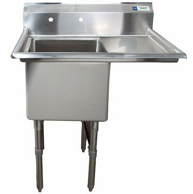 38 1 Compartment Stainless Steel Commercial Utility One Sink Right Drainboard