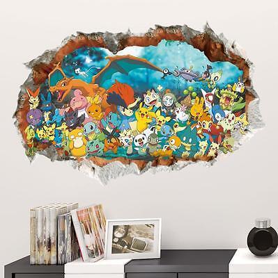 Huge 3D Pokemon Pikachu Friends Removable Wall Sticker Decal Kids room Decor USA