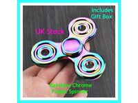 Rainbow Chrome Fidget Spinner, Comes in Gift Box. Metal Bearing, high quality.
