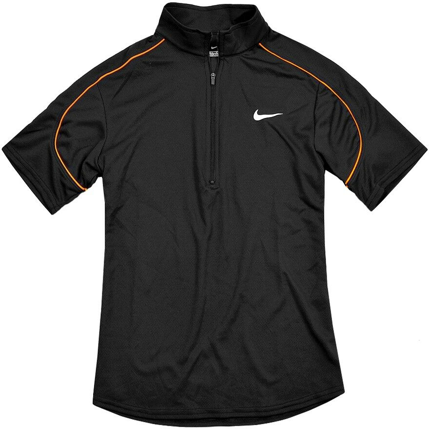 Nike Damen Sport Shirt Funktionsshirt Polo Laufshirt Fitness Tennis Top schwarz