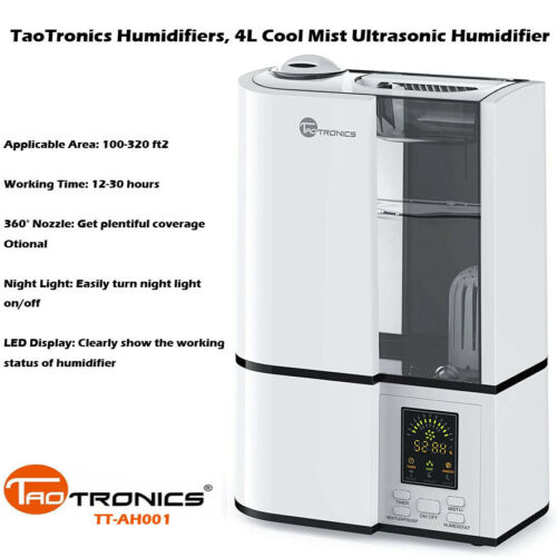 TaoTronics Humidifier TT-AH001 4L Ultrasonic Cool Mist Quiet LED Display DI17_GR