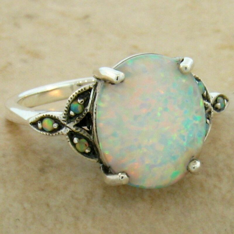 WHITE LAB OPAL ANTIQUE VICTORIAN DESIGN .925 STERLING SILVER RING,          #581
