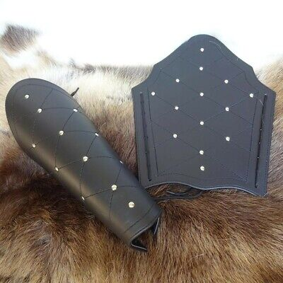 Black Leather Studded Greek Greaves Idea for Costume, Stage, Re-enactment & - Greek Costume Ideas