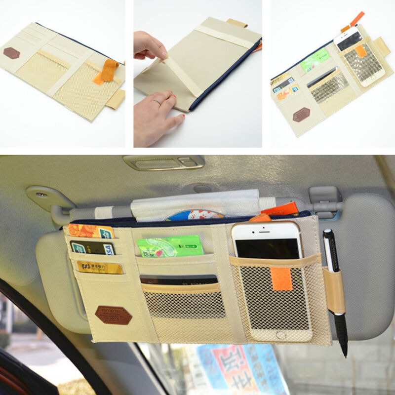 Car Universal Sun Visor Shield Board Storage Boxes CD Case Phone Card Bag Beige