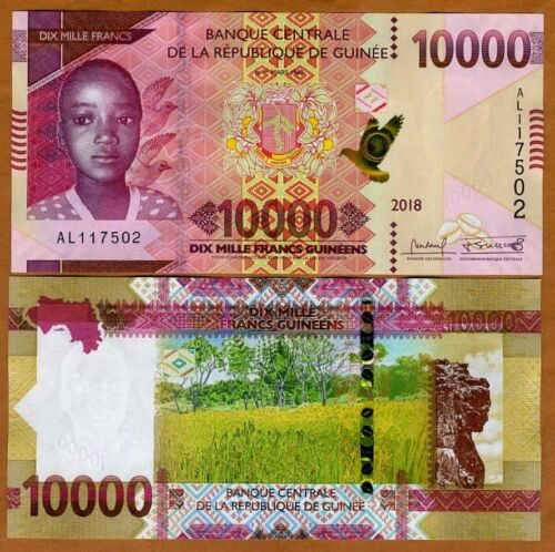Guinea, 10000 (10,000) francs, 2018 (2019), P-New, UNC > New Design