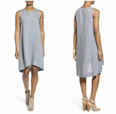 Womans EILEEN FISHER Blue Chambray Sleeveless Organic Linen Dress S NWOT