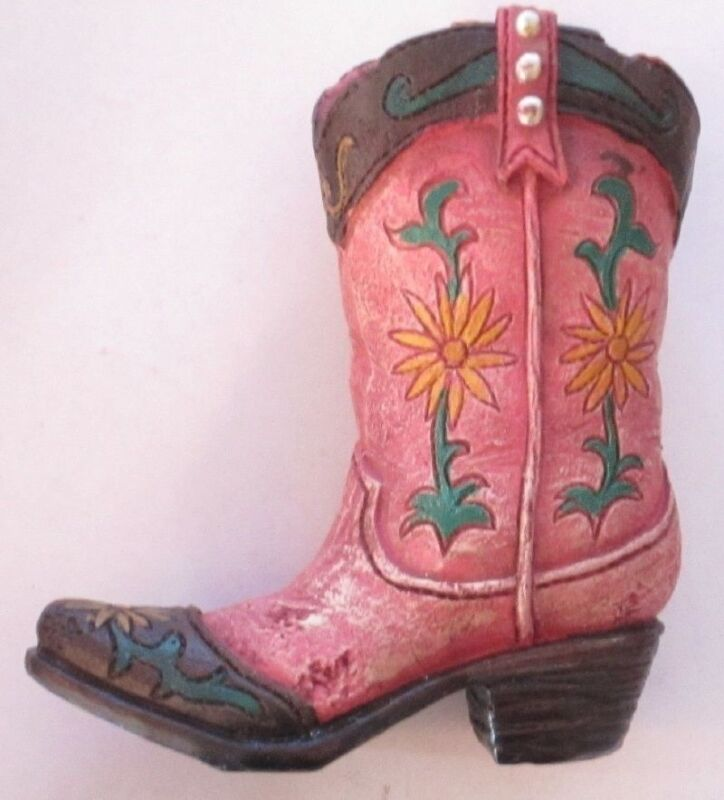 Western Small Ceramic Cowboy Boot Pencil Holder Collectible New (2352)