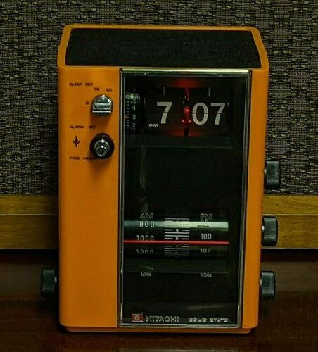 Vintage MCM Orange Flip Clock New Bulb Refurb Rare Hitachi Alarm AM FM Radio