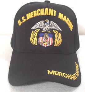 BALL CAP U.S. MERCHANT MARINE  HAT BLACK  MILITARY