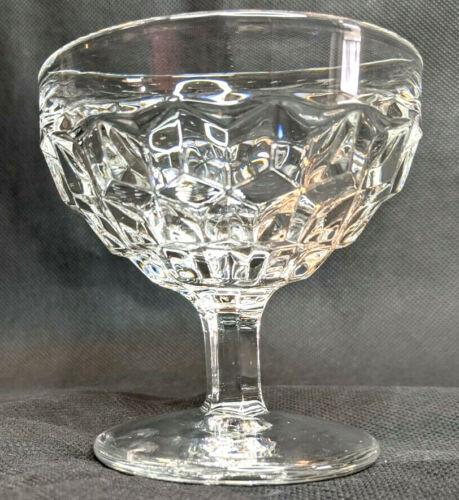 "Set of 4 Vintage Dessert/Sherbet Clear 3.5"" Diamond Cut Glasses/Cups"