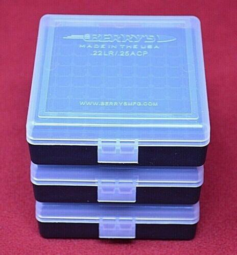 3 x 22 lr Ammo Box / Case / Storage 100 Rnd .22LR / .25 ACP (CLEAR COLOR) NEW