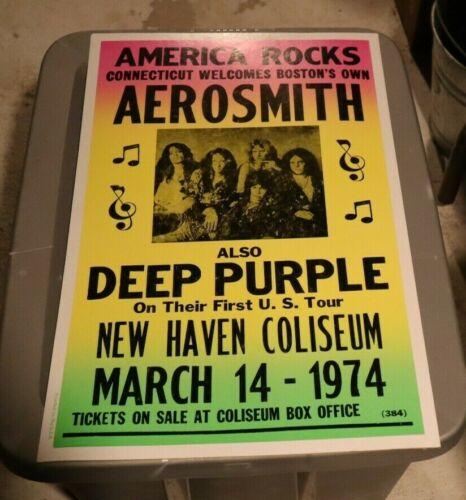 "14x22"" REPRO CARDBOARD POSTER AEROSMITH 1974 NEW HAVEN COLISEUM WITH DEEP PURPLE"