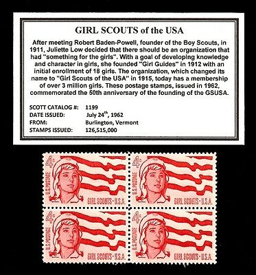 1962 - GIRL SCOUTS (GSUSA)  - Block of Four Vintage U.S. Postage Stamps