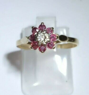 Pretty 9ct Gold 375 Hallmarked Birmingham 1988 Ruby & Diamond Ring Size N