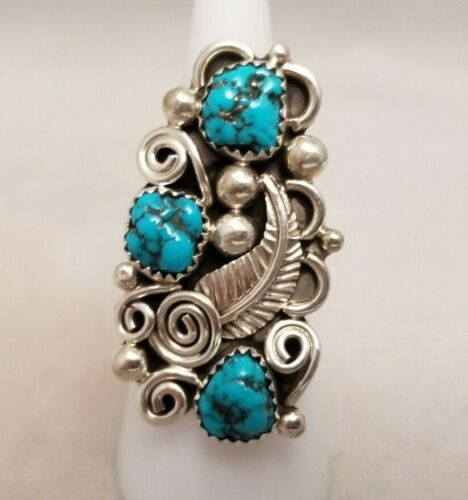 """Navajo Turquoise Ring, Sterling Silver Size 6.75 - Shirley Largo 1 1/4"""" x 7/8"""""""