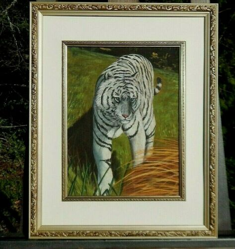 WHITE TIGER, King of The Wild, Original Painting, Beautifully Framed & Excellent