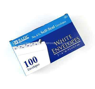 100 No. 6-34 Peel And Self-seal White Letter Mailing Envelopes 3-58 X 6-12
