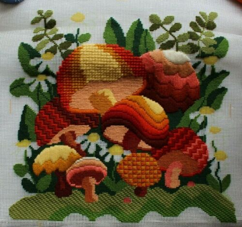 Vintage Mushrooms Daisies Flowers Long Stitch Needlepoint Partially Completed