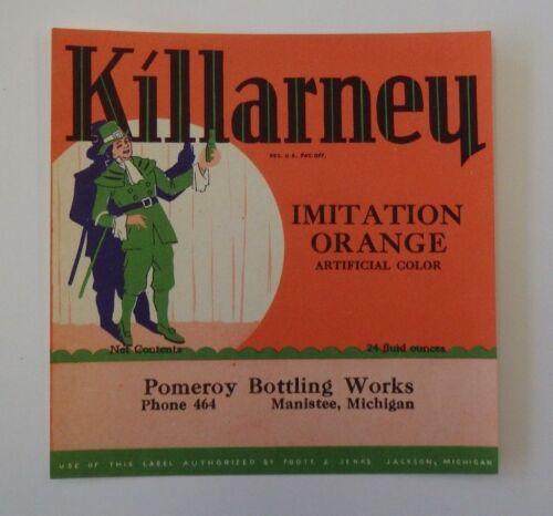 Vintage Killarney Imitation Orange Soft Drink Label Excellent Condition