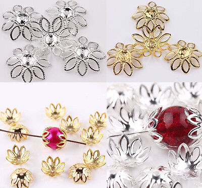 50Pcs Hollow Filigree Silver/Gold Plated Metal Flower Bead Caps 20mm Findings