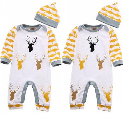 Newborn Infant Baby Boys Girls Romper Bodysuit Jumpsuit+Hat Outfits Clothes
