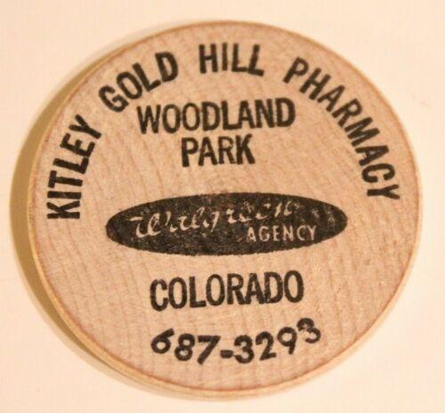 Vintage Colorado Wooden Nickel Kitley Gold Hill Pharmacy