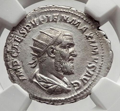 PUPIENUS 238AD Rome RARE Authentic Ancient Silver Roman Coin HANDS NGC i63346