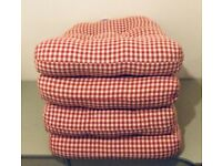 Pair Laura Ashley Red & Cream Gingham Seat Pads/Cushions Farmhouse/Shabby Chic Prescot,Widnes,Post