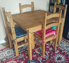 Waxed Pine Wood Table and Chairs