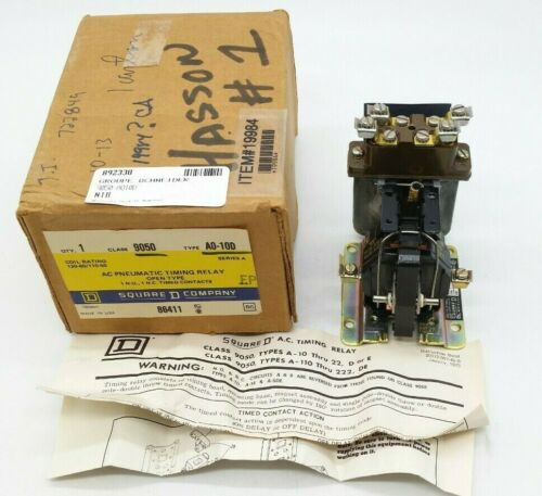 Square D 9050 A0-10D AC Pneumatic Timing Relay