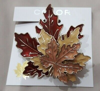 New Color Beautiful Tiered Maple Leaf Fall Brooch Pin Gold Tone