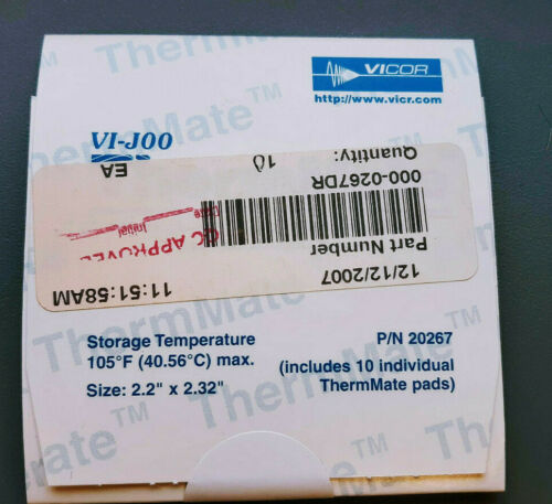 (10 pc Package)  VICOR # 20267 ThermMate Thermal Pads for use with VI-J00 Size