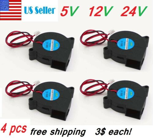 4pcs 5V 12V 24V DC 50mm Blow Radial Cooling Fan 5015 Blower For 3D Printer DIY